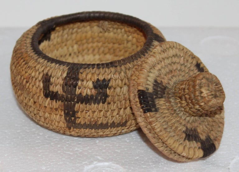 Pima Indian Miniature Hand-Woven Lided Basket 3