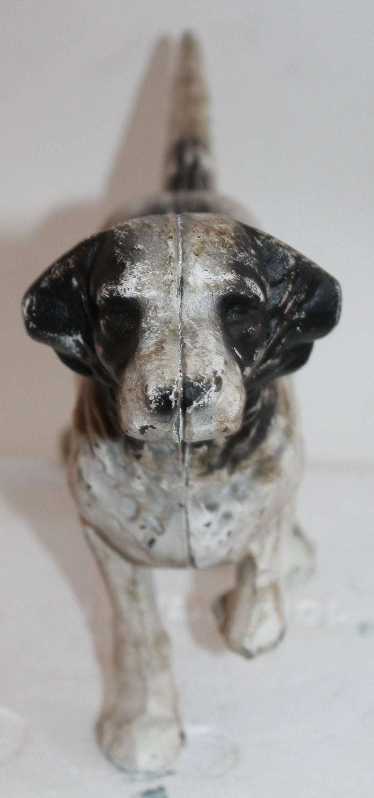 American Early 20th Century Iron Hubley Dog Door Stop For Sale