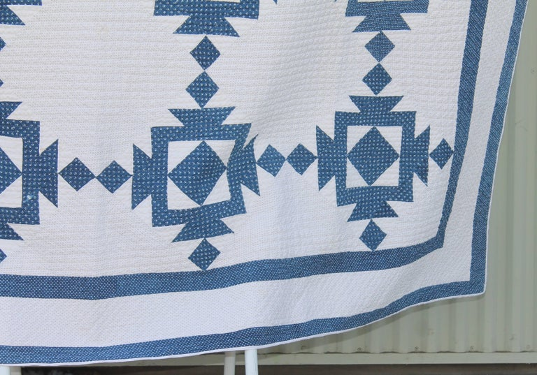 Country Quilt, 19th Century Blue and White Geometric For Sale