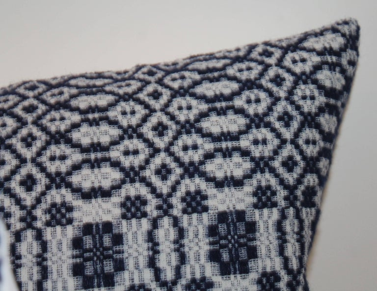 American Classical Vintage Jacquard Coverlet Pillows, Collection of Four For Sale