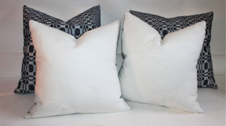 Hand-Crafted Vintage Jacquard Coverlet Pillows, Collection of Four For Sale
