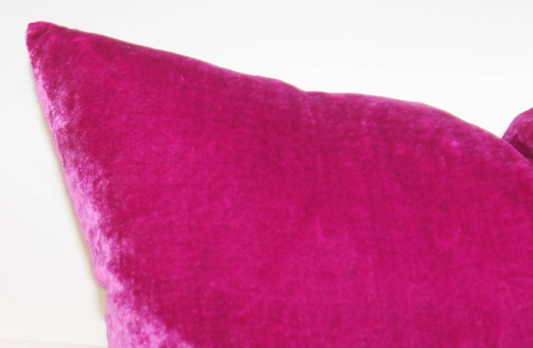 American Pink Velvet Pillows / Collection of Four For Sale