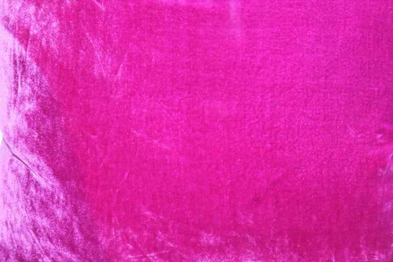 Hand-Crafted Pink Velvet Pillows / Collection of Four For Sale