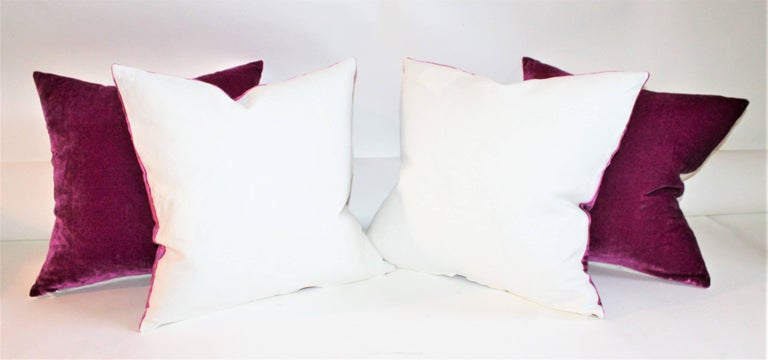 Pink Velvet Pillows / Collection of Four In Excellent Condition For Sale In Los Angeles, CA