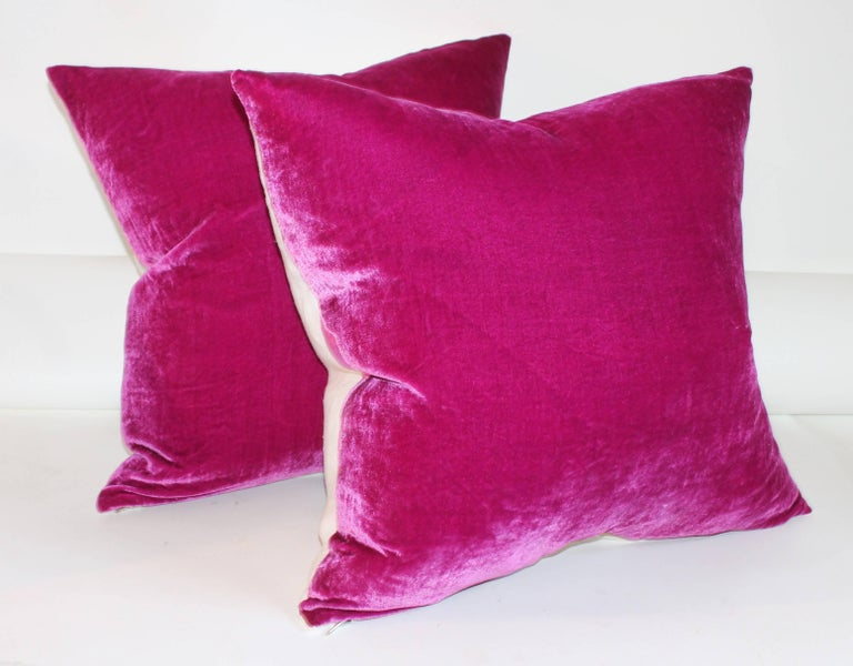 Romantic Pink Velvet Pillows / Collection of Four For Sale