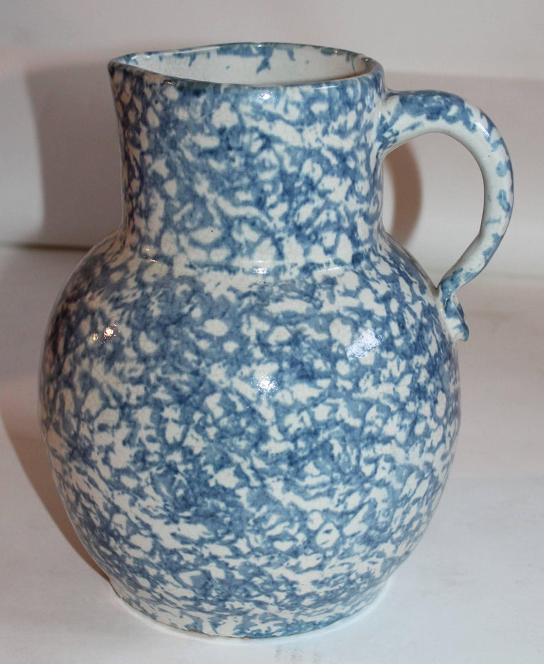 Country 19th Century Spongeware Pottery Water Pitcher For Sale