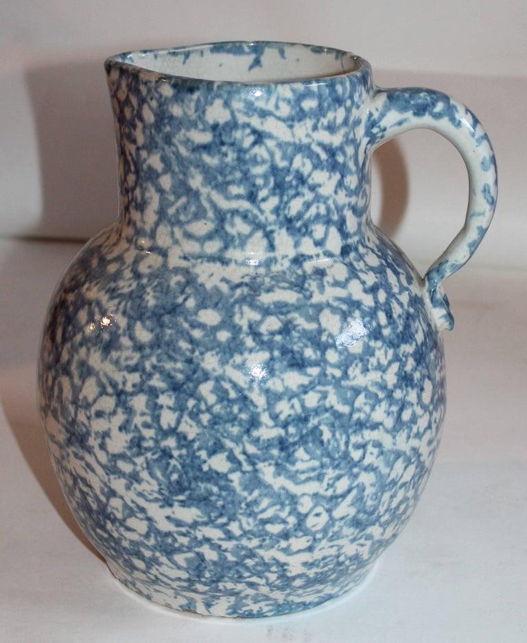 19th Century Spongeware Pottery Water Pitcher 3