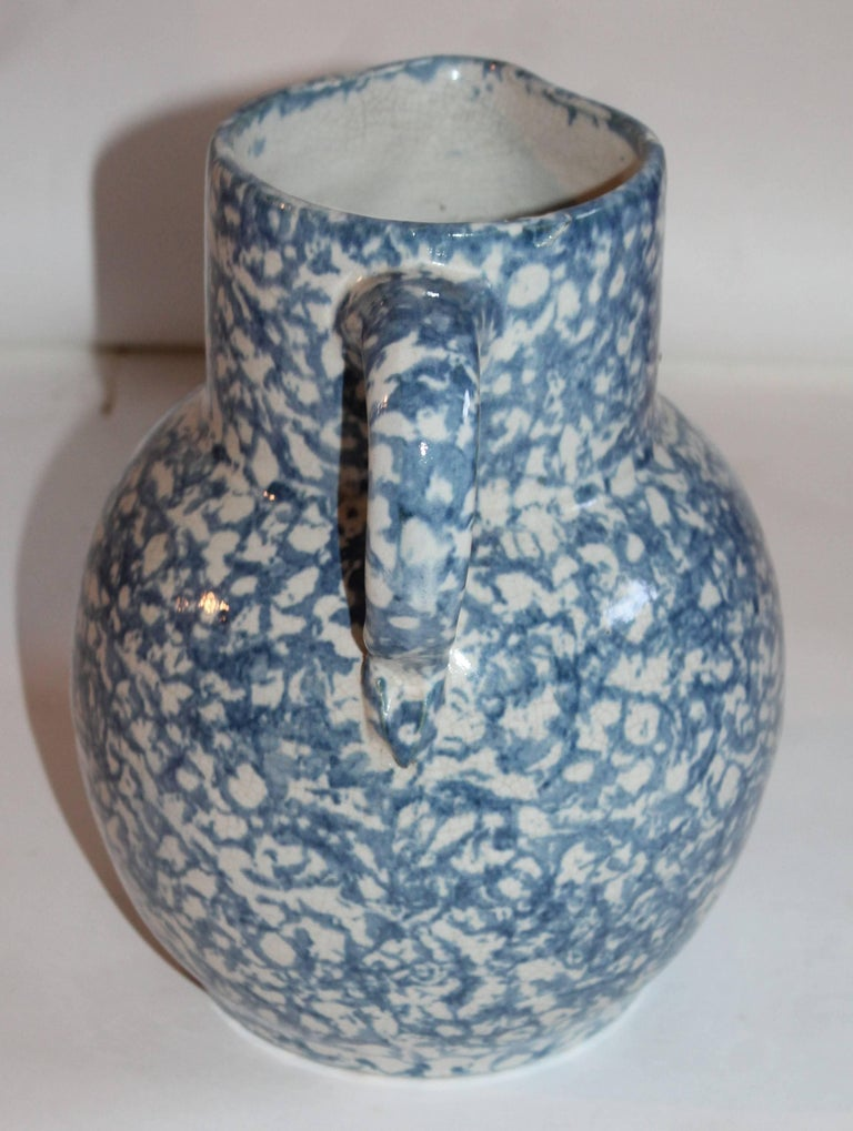 American 19th Century Spongeware Pottery Water Pitcher For Sale