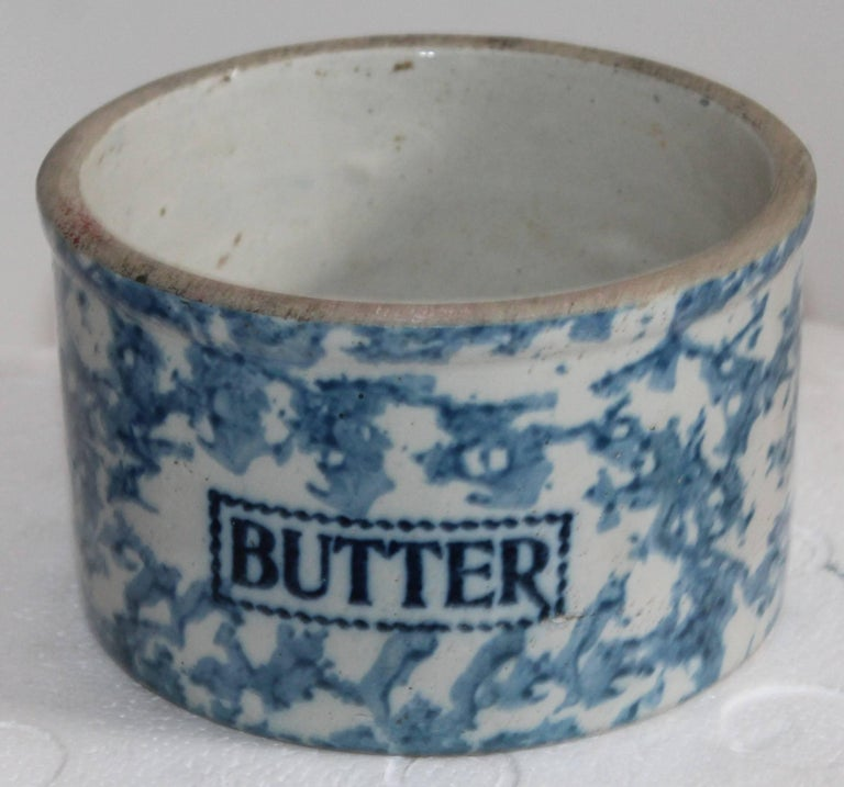 This large butter crock is exceptionally large and in mint condition. Notice the dark blue lettering against a light blue sponged ground.