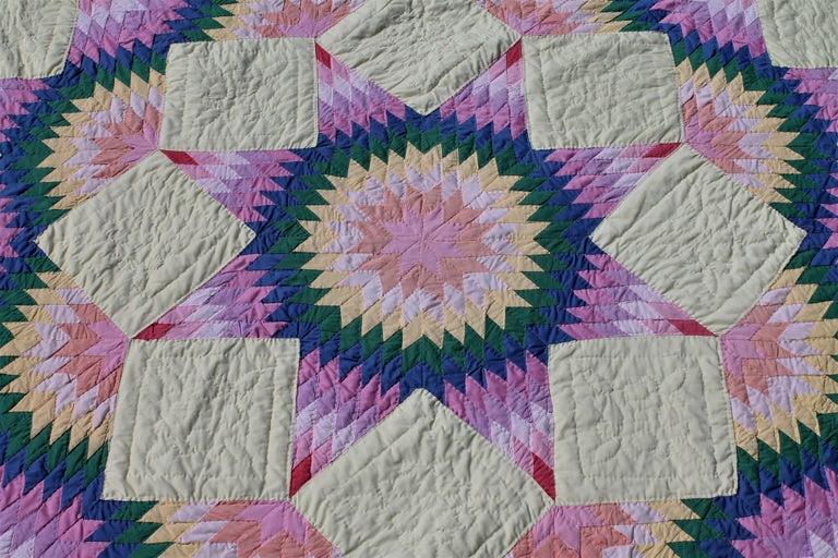 Broken Star Quilt In Pastel Colors For Sale At 1stdibs