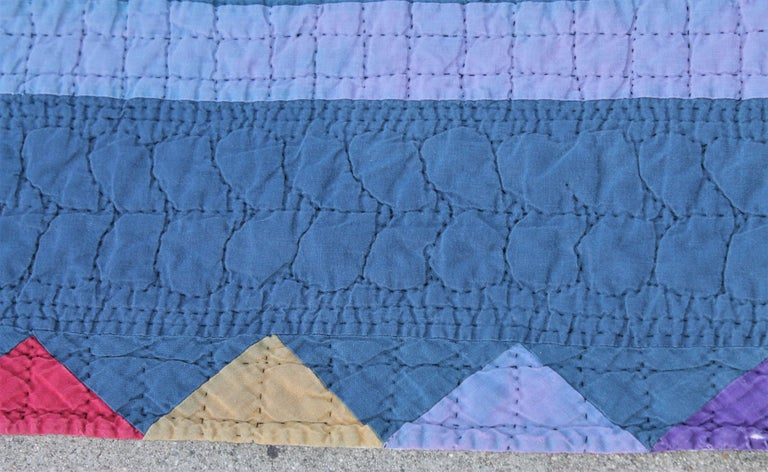 Hand-Crafted Amish Pin Wheel Quilt For Sale