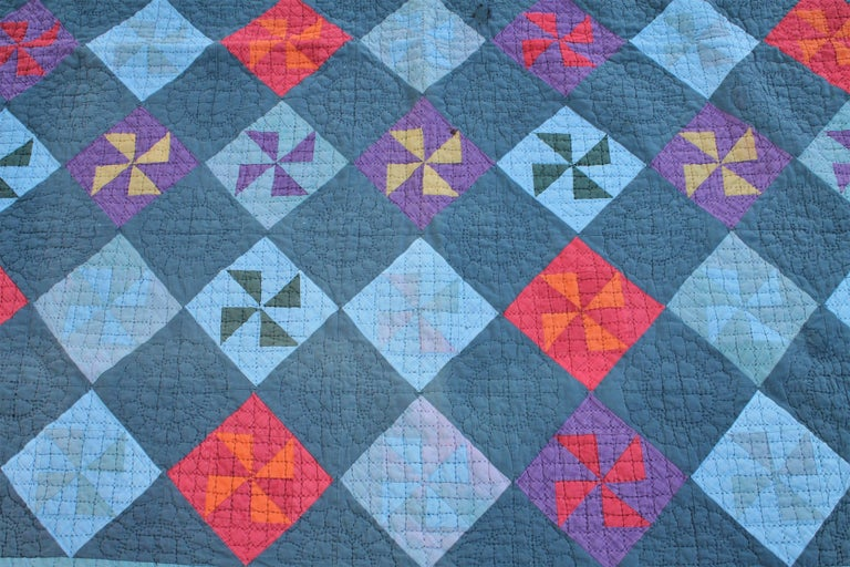 Folk Art Amish Pin Wheel Quilt For Sale