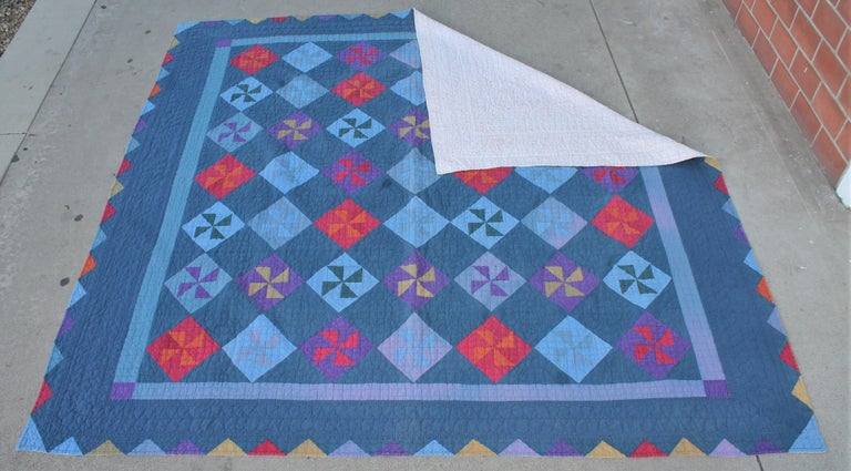 20th Century Amish Pin Wheel Quilt For Sale
