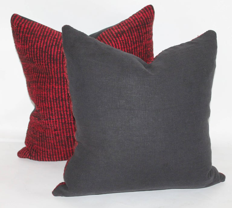 20th Century Navajo Indian Weaving Saddle Blanket Pillows or Pair For Sale
