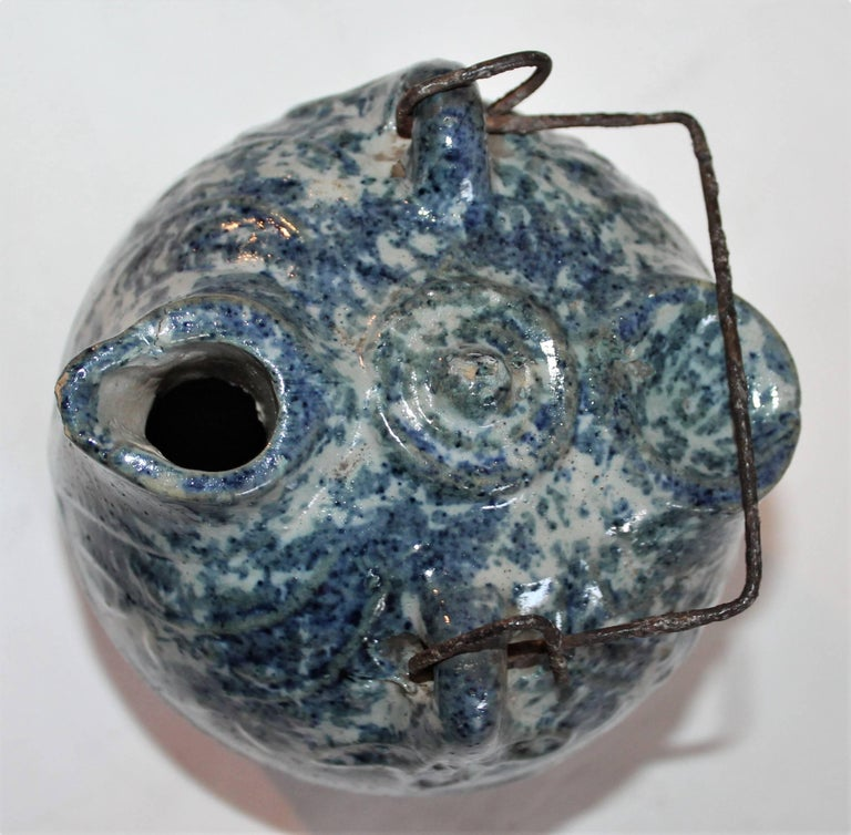 Sponge Ware 19th Century Pottery Harvest Jug In Good Condition For Sale In Los Angeles, CA