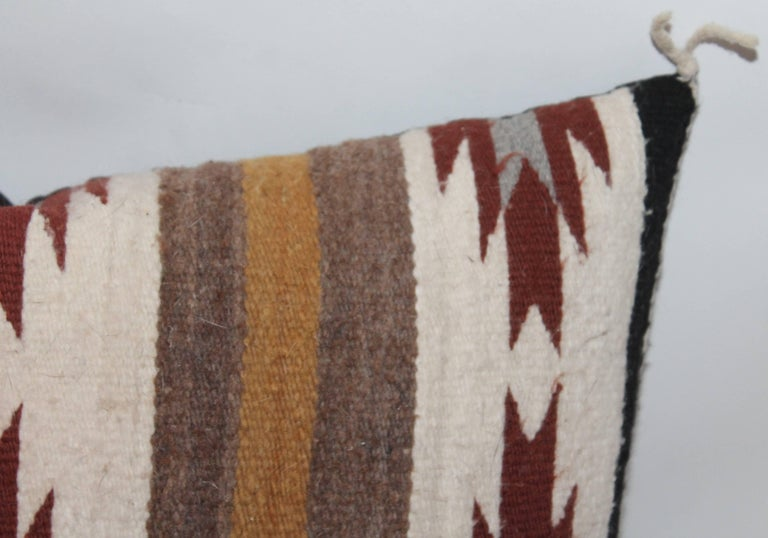 Hand-Woven Two Navajo Geometric Bolster Pillows For Sale