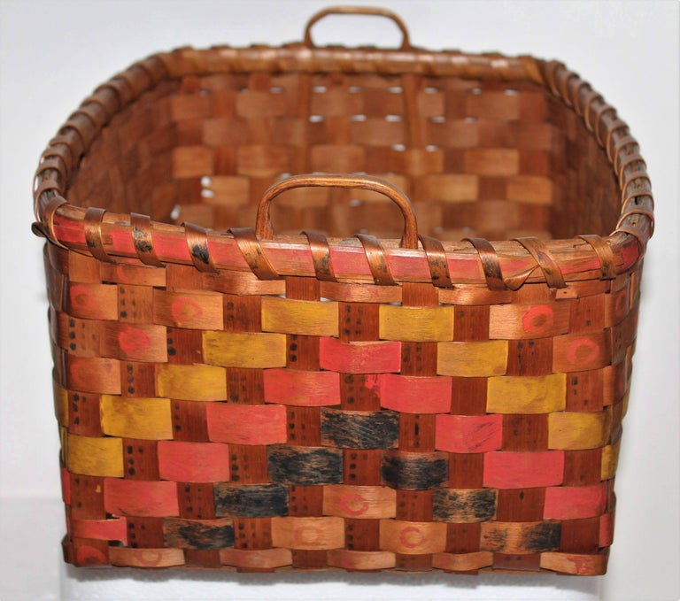 Other 19th Century Penobscot Indian Polychrome Paint Decorated Basket  For Sale