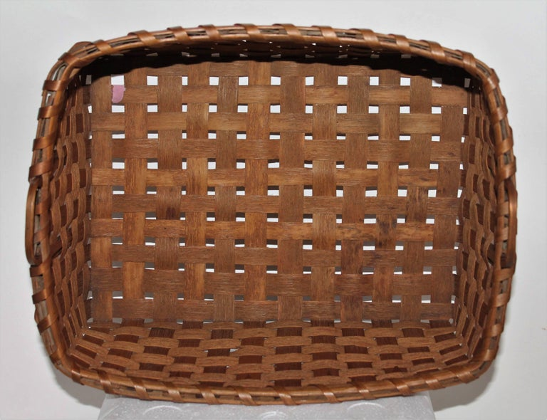 19th Century Penobscot Indian Polychrome Paint Decorated Basket  6