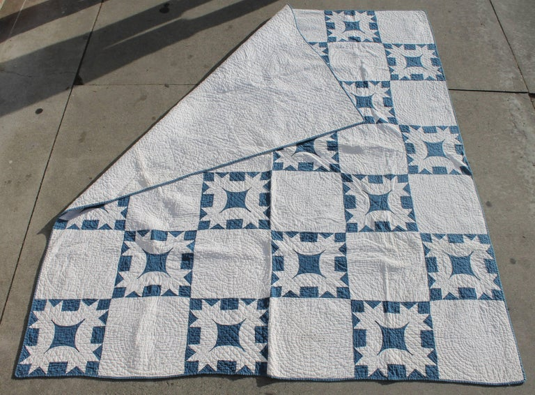 19th Century Quilt Blue and White Geometric 8