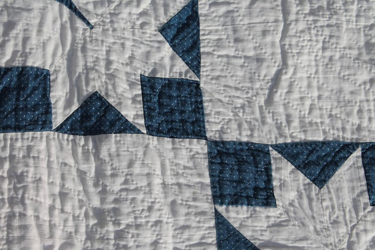 19th Century Quilt Blue and White Geometric 3