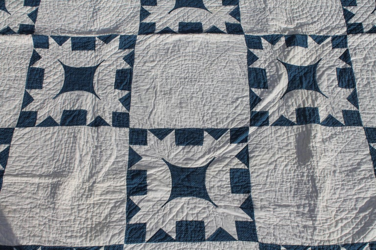 19th Century Quilt Blue and White Geometric 2