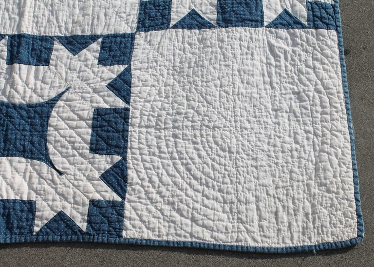 19th Century Quilt Blue and White Geometric 4