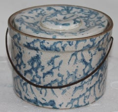 19Thc  Sponge Ware Salt Crock W/ Bail  Handle