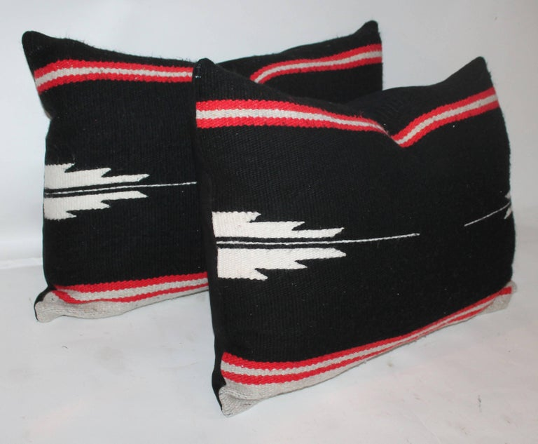 These black and white Indian weaving pillows are in great condition and sold as a pair. The backs are in black cotton linen.