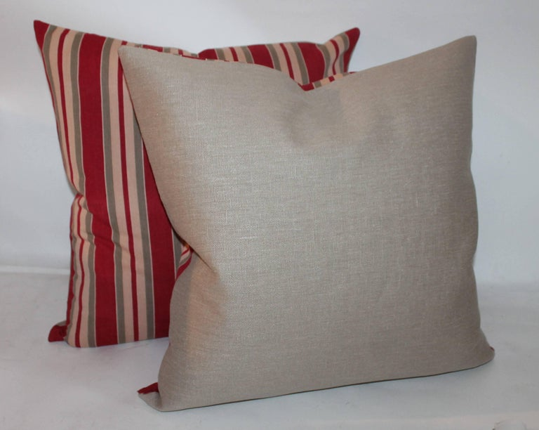 Hand-Crafted European Striped 19th Century Ticking Pillows, Pair For Sale