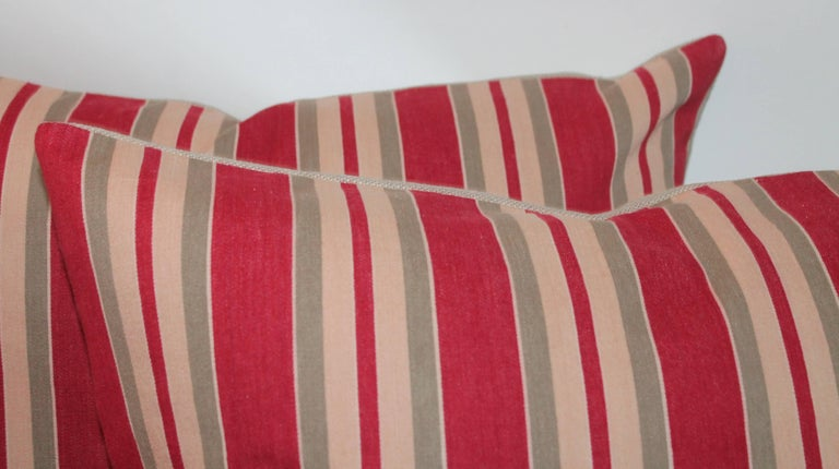 Country European Striped 19th Century Ticking Pillows, Pair For Sale