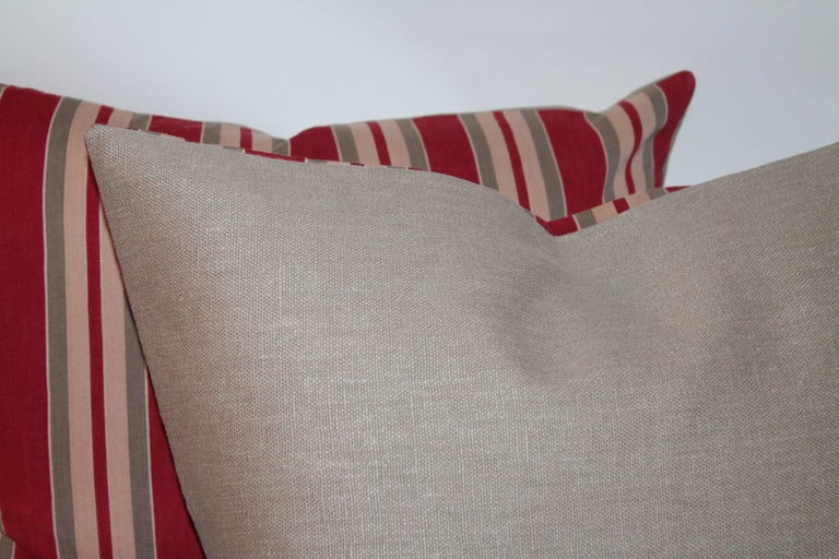 European Striped 19th Century Ticking Pillows, Pair In Excellent Condition For Sale In Los Angeles, CA