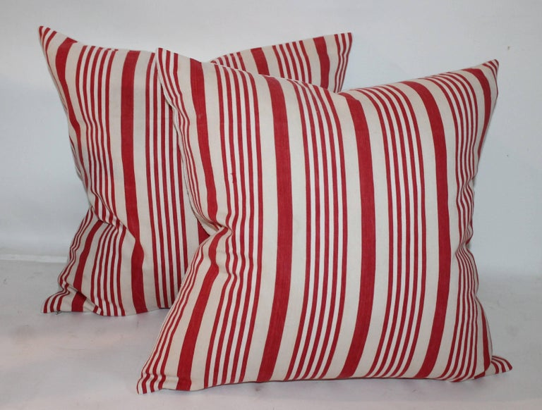 19th Century American Ticking Stripped Pillows/Pair 2