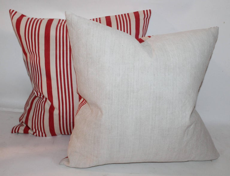 19th Century American Ticking Stripped Pillows/Pair 5