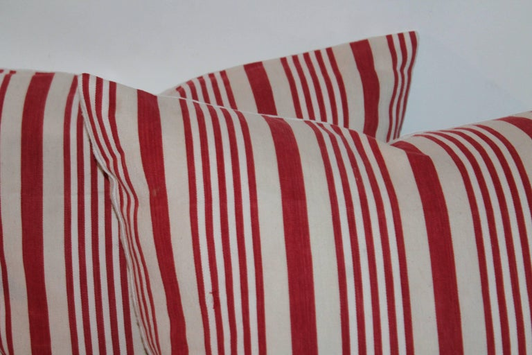 19th Century American Ticking Stripped Pillows/Pair 3