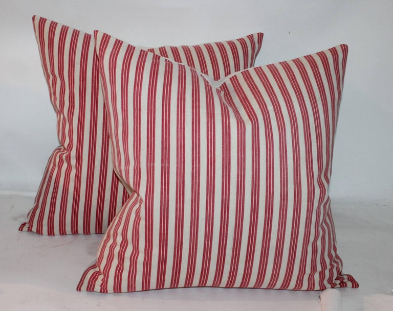 Cotton 19th Century Candy Stripe Ticking Pillows, Pair For Sale