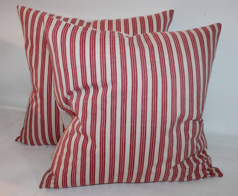 Country 19th Century Candy Stripe Ticking Pillows, Pair For Sale