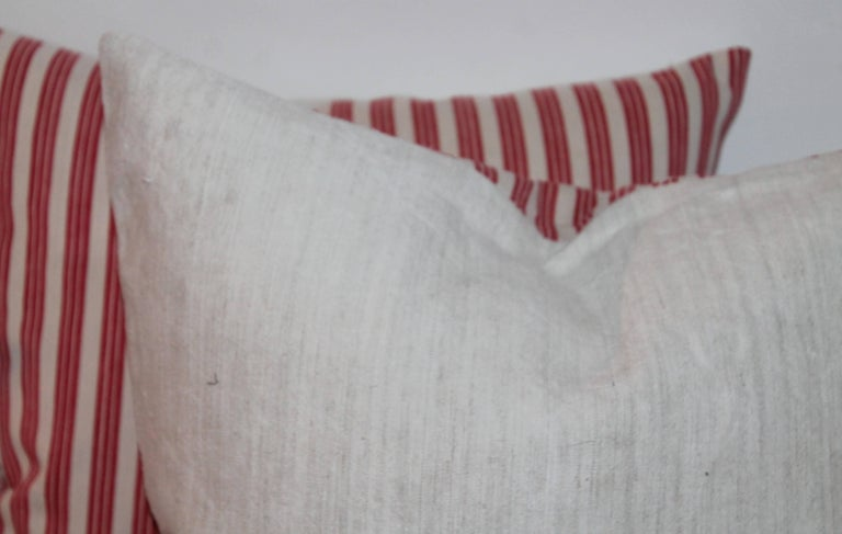 Hand-Crafted 19th Century Candy Stripe Ticking Pillows, Pair For Sale