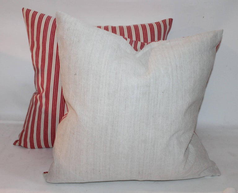 American 19th Century Candy Stripe Ticking Pillows, Pair For Sale
