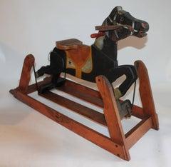 19Thc Platform Rocking Horse in Original Painted Surface