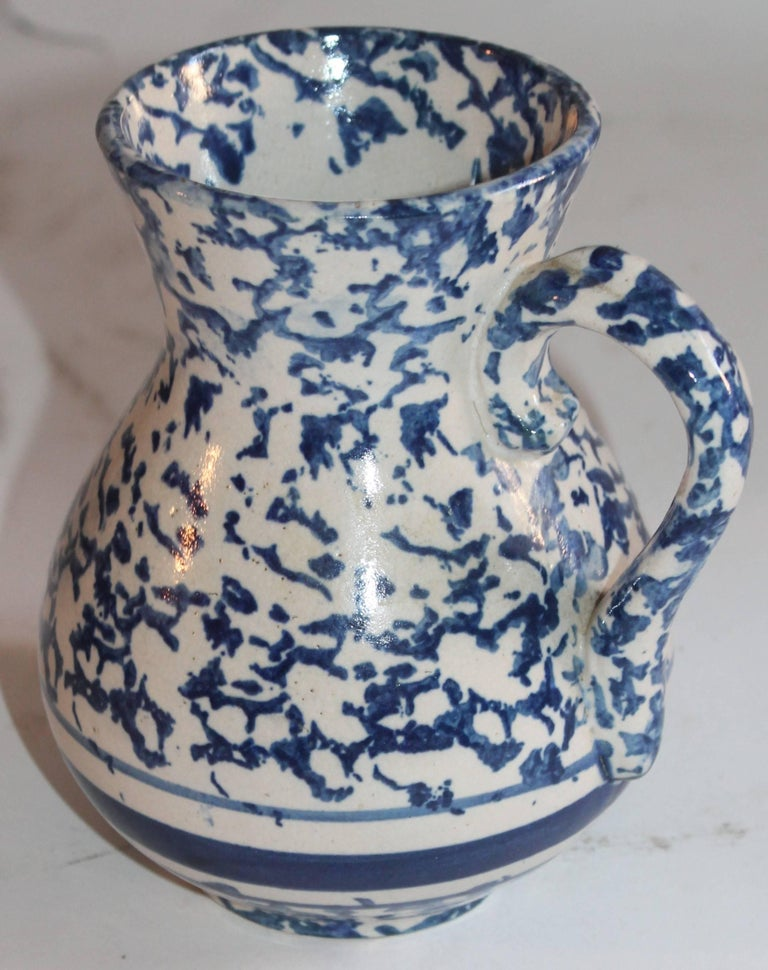 Hand-Crafted Sponge Ware Pottery Pitcher For Sale