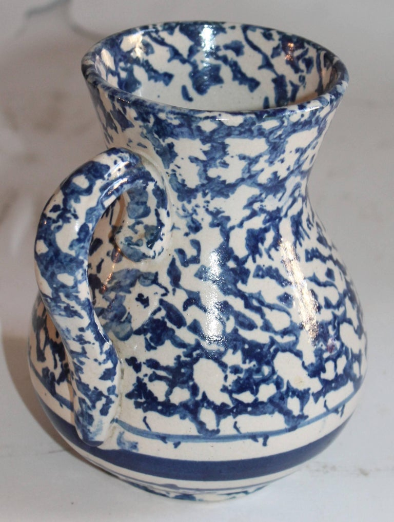 American Sponge Ware Pottery Pitcher For Sale