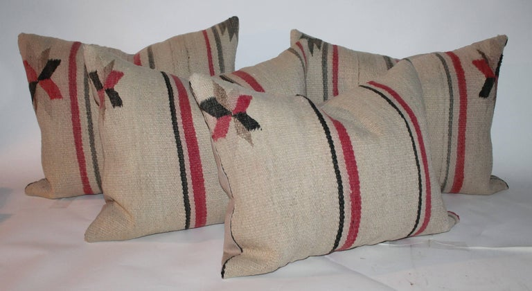 Adirondack Early Navajo Indian Weaving Saddle Blanket Pillows For Sale