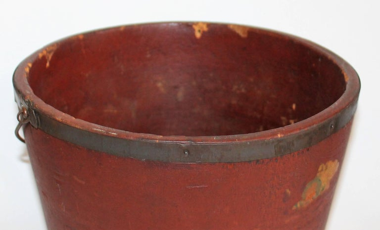 Country 19th Century Original Red Painted Fibre, Wood Bucket For Sale