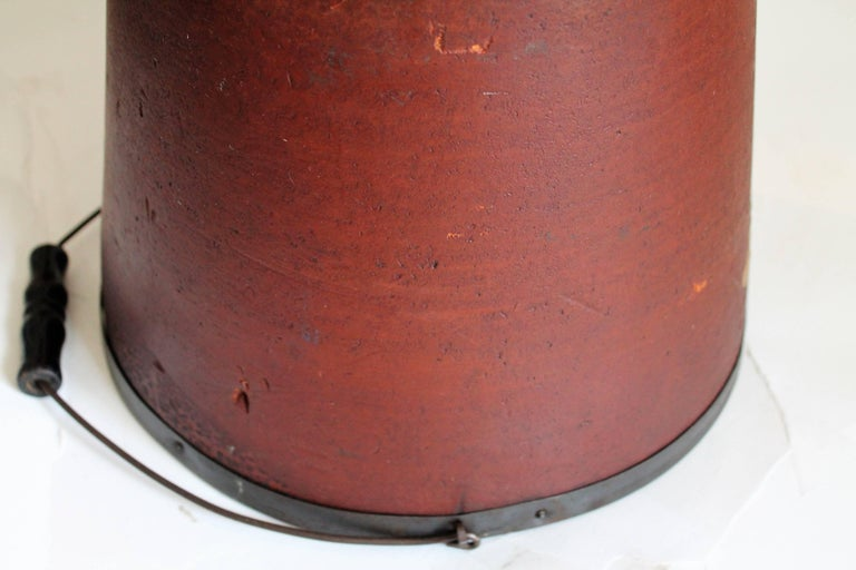 19th Century Original Red Painted Fibre, Wood Bucket For Sale 1