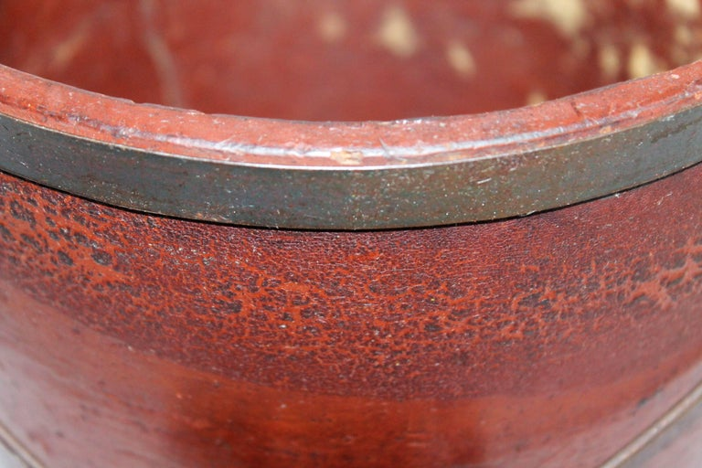 19th Century Original Red Painted Fibre, Wood Bucket In Good Condition For Sale In Los Angeles, CA