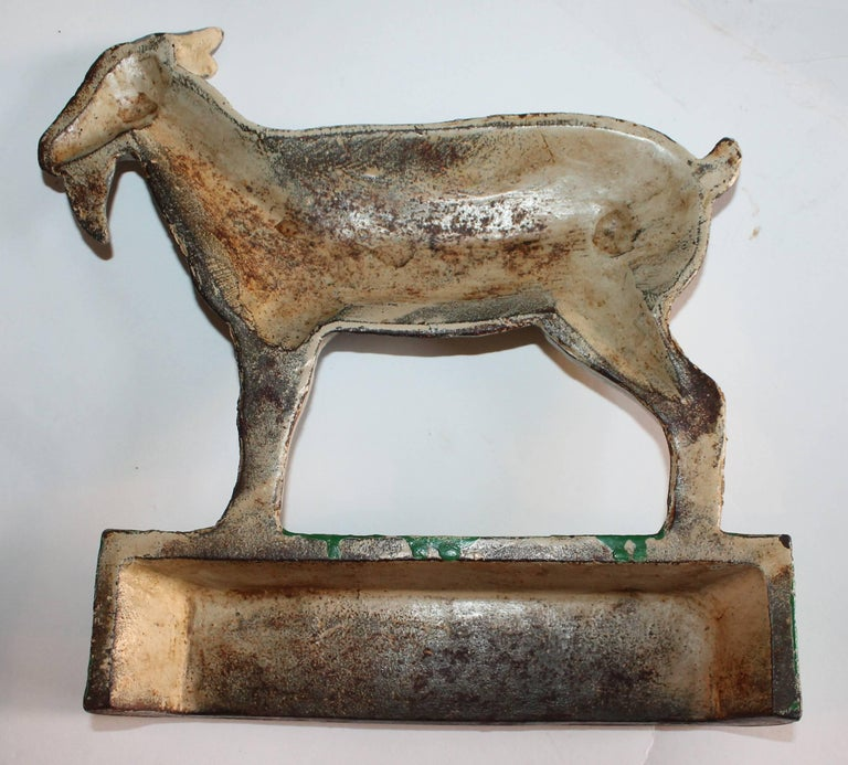 Hand-Painted Cast Iron Goat in Original Painted Surface For Sale