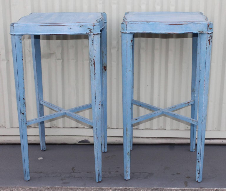 Blue Painted Pair of Side Tables 2
