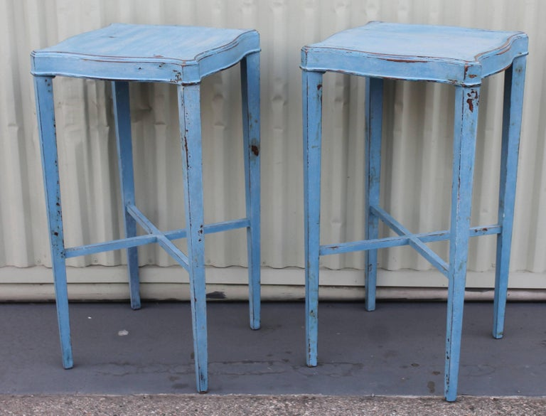 Blue Painted Pair of Side Tables 4