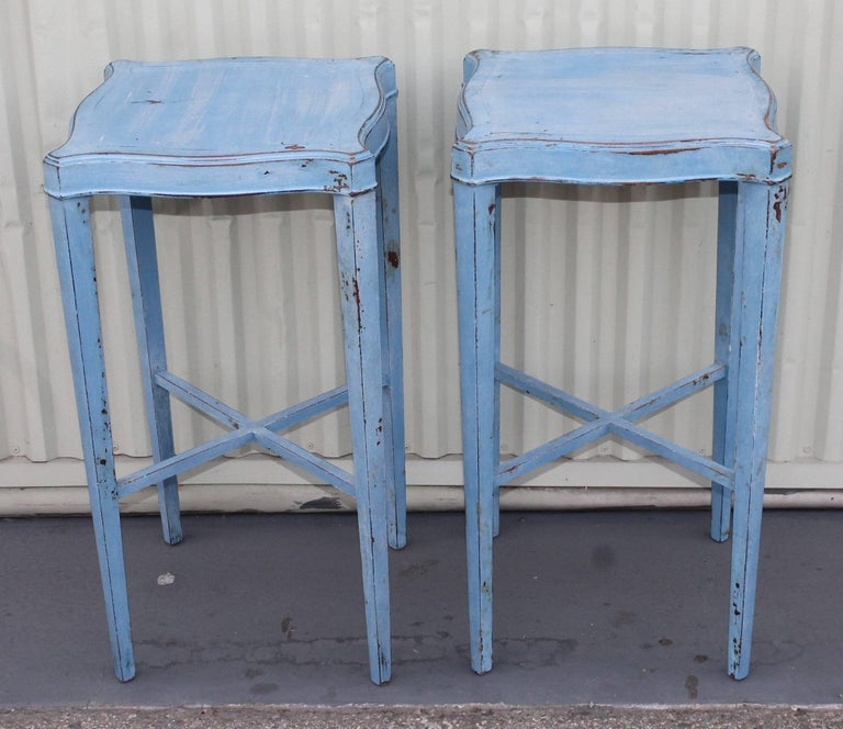 Blue Painted Pair of Side Tables 3