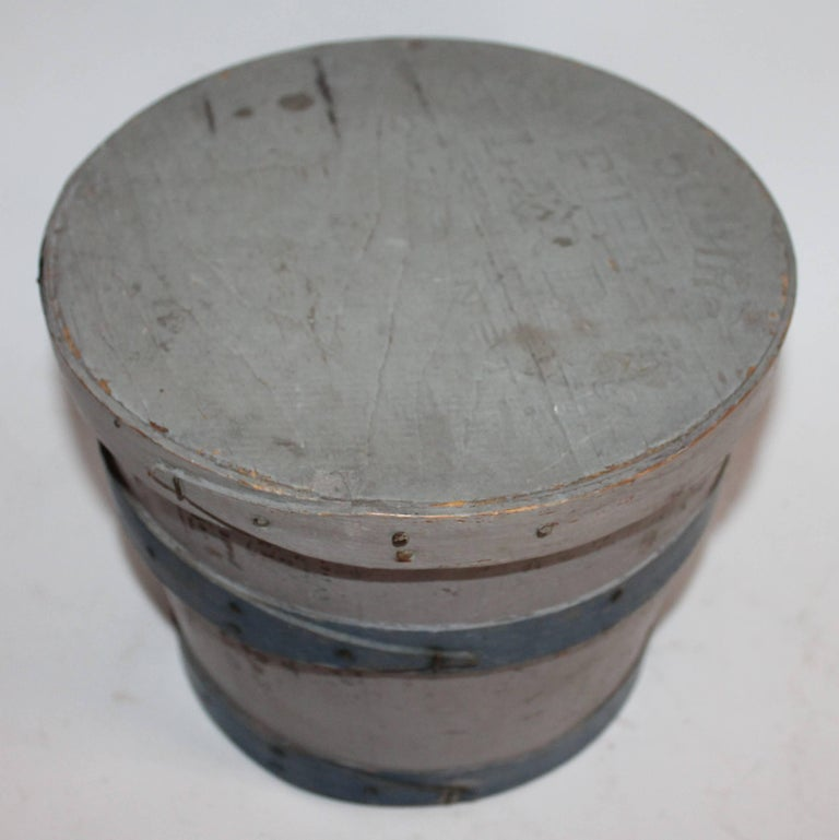 Country 19th Century Original Painted Lard Bucket For Sale